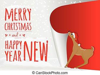 antigas, doce, veado, cima, bebê, ano, rolando, cartão natal