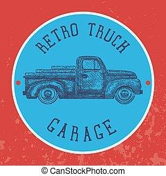antigas, experiência., vindima, símbolo, pick-up, garagem, vetorial, caminhão, retro, transporte, shipping.