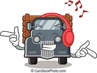 antigas, forma, escutar música, caminhão, mascote