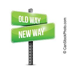 antigas, ilustração, sinal, desenho, maneira, maneira, novo