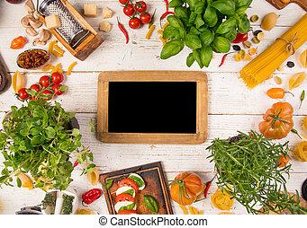 antigas, ingredientes, alimento, madeira, fundo, italiano