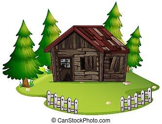 antigas, isolado, casa, madeira, abandonado