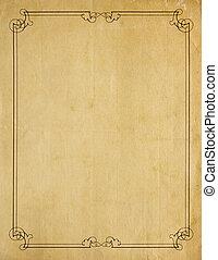 antigas, muito, papel, fundo, em branco, borda, scroll