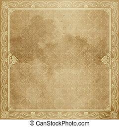 antigas, papel, folha, border., decorativo