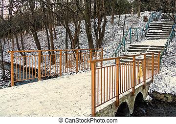 antigas, parque, inverno, abandonado