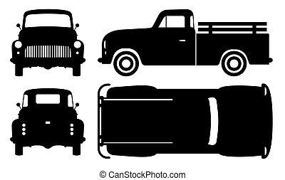 antigas, pretas, vetorial, ilustração, caminhão, pickup, ícones