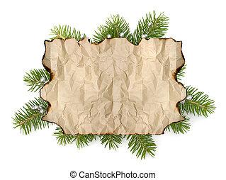antigas, ramo, espaço, árvore, isolado, pergaminho, papel, fundo, cópia, natal