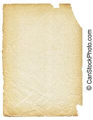 antigas, rasgado, isolado, experiência., papel, branca