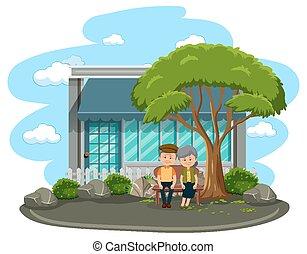 antigas, sentando, parque, par, isolado