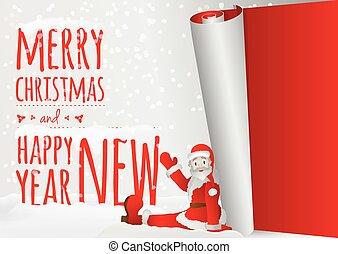 antigas, sentar-se, santa, ano, rolando, cartão natal