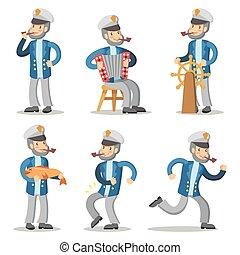 antigas, set., personagem, ilustração, marinheiro, vetorial, capitão, caricatura, uniform.