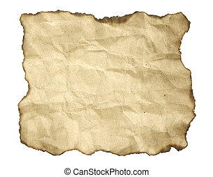 antigas, sobre, bordas, papel, queimado, branca