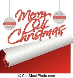 antigas, texto, cima, tricotado, ano, rolando, cartão natal