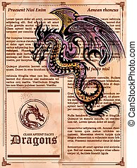 antigas, vindima, dragão, livro, furioso, desenho, página