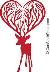 antlers, vetorial, veado, coração