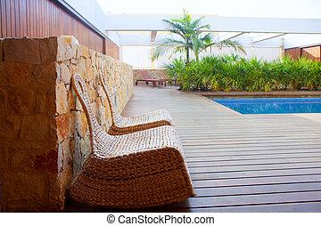 ao ar livre, cadeiras, casa, teak, madeira, balanço, piscina