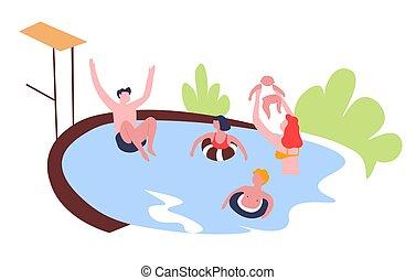 ao ar livre, família, lazer, passatempo, atividade, piscina, natação