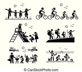 ao ar livre, recreacional, activities., família