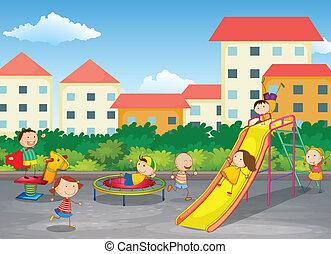 ao ar livre, tocando, crianças