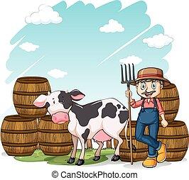 ao lado, vaca, agricultor