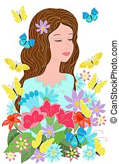 ao redor, voando, borboletas, sonhar, menina, flores