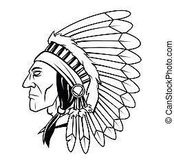 apache, cabeça, vetorial, ilustração