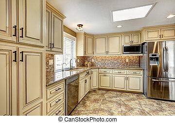aparar, chão, costas, interior, respingo, luxo, azulejo, cozinha
