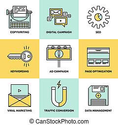 apartamento, ícones, marketing, optimization, digital, seo