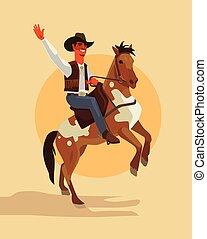 apartamento, boiadeiro, passeio, personagem, ilustração, horse., vetorial, caricatura