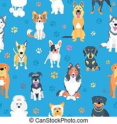 apartamento, cachorros, desenho, seamless, padrão