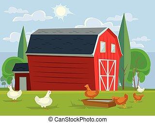 apartamento, campo, casa fazenda, ilustração, chicken., vetorial, caricatura