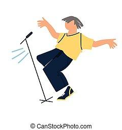 apartamento, cantor, macho, dançar, fase, microphone., vetorial, estilo, ilustração, estouro