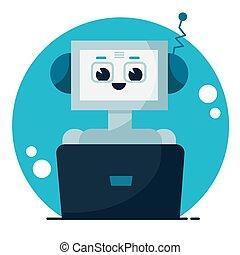 apartamento, caricatura, conversa, cute, sorrindo, robô, apoio, bot., concept., ilustração, serviço, vetorial