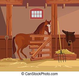 apartamento, cavalo, ilustração, farm., vetorial, caricatura