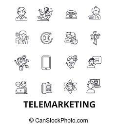 apartamento, centro, linear, marketing, vendas, símbolo, strokes., editable, isolado, ilustração, direto, icons., telemarketing, vetorial, chamada, telesales, sinais, desenho, linha, concept.