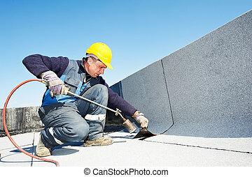 apartamento, cobertura, feltro, telhado, telhado, trabalhos