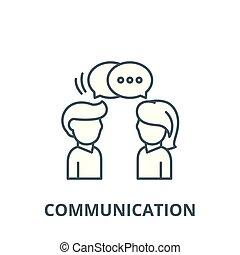 apartamento, conceito, esboço, sinal, comunicação, ilustração, símbolo, vector., ícone, linha