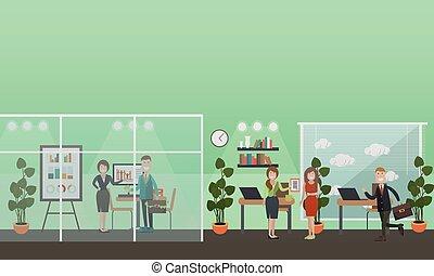 apartamento, conceito, escritório negócio, pessoas, ilustração, vetorial
