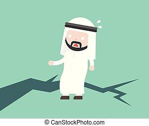apartamento, conceito, ilustração, árabe, homem negócios, desenho, levantar, terra, instável, medo, fenda, chão