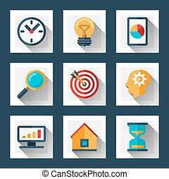 apartamento, conceito, jogo, ícones negócio, marketing, ilustração, vetorial, style.