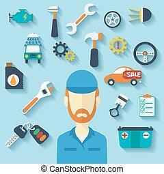 apartamento, conceito, serviço, ícones, car, mechanic.