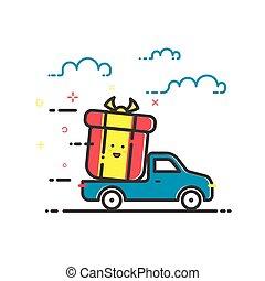 apartamento, conceito, shopping, ilustração, entrega, vetorial, servicein, linha, style., ícone