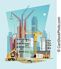 apartamento, construção, vetorial, caricatura, ilustração