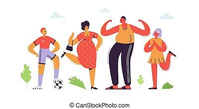 apartamento, daughter., família, pai, filho, ilustração, cartoons., characters., vetorial, pais, mãe, kids., feliz