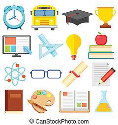 apartamento, educação, ícone