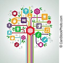 apartamento, escola, rede, ícones, costas, árvore., educação