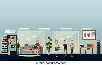 apartamento, escritório negócio, pessoas, ilustração, vetorial