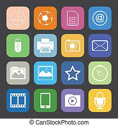 apartamento, estilo, ícones, cor, set., telefone, vetorial, móvel