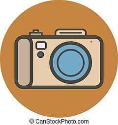 apartamento, estilo, câmera., vetorial