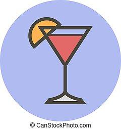 apartamento, estilo, cocktail., vetorial